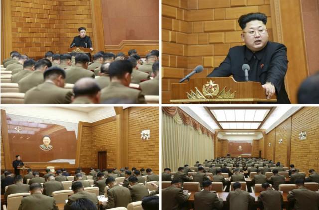 朝鮮労働党中央軍事委員会拡大会議で演説する金正恩氏