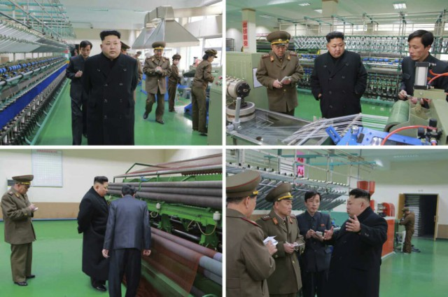 漁具工場を見て回る金正恩氏