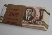 2009年貨幣改革前の旧100ウォン札の束 ©Zhimin Pan