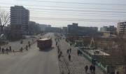 中朝国境の都市、新義州の市内中心部の様子