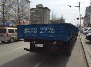 中国の丹東市内を走る北朝鮮平安北道ナンバーのトラック
