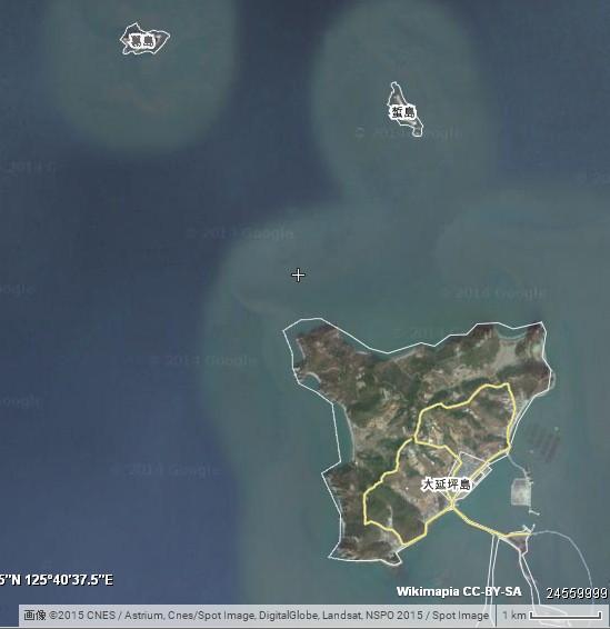 大延坪島と葛島の位置関係 ©Wikimapia