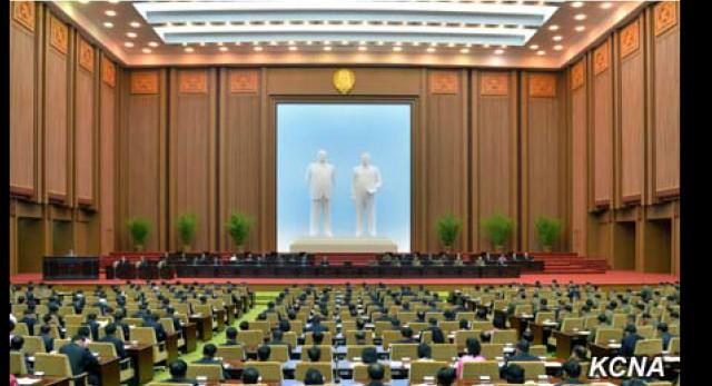 2015年4月9日平壌で開催された最高人民会議の様子(朝鮮中央通信キャプチャー)