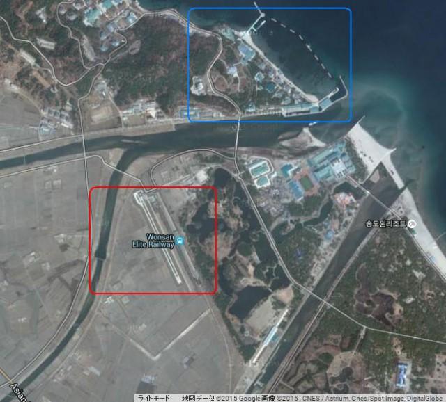 金正恩氏別荘専用の滑走路と駅(赤丸)、別荘(青丸) (画像:Google Map)