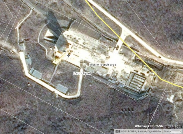 東倉里ロケット発射場の衛星写真(画像:Wikimapia、CNES/Astrium、Digital Globe)