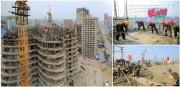 未来科学者通りの建設現場で働く突撃隊員たち(画像:労働新聞)