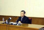 7月30日に行われた記者会見で発言するヒョンス・リム氏/朝鮮中央通信