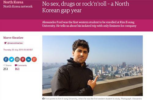 西欧から初めて北朝鮮の金日成総合大学に留学したアレッサンドロ・フォードさんを紹介する英ガーディアン紙。