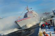 10月16日に行われた米海軍の沿海域戦闘艦(LCS)ミルウォーキーの進水式/米海軍提供