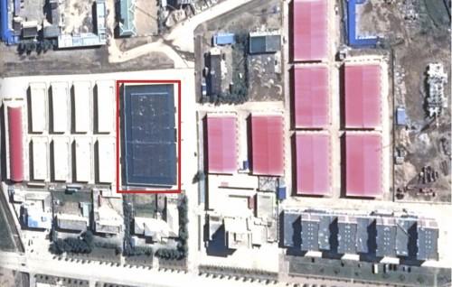 赤で囲んだ部分が北朝鮮羅先市場(画像:Google erath)