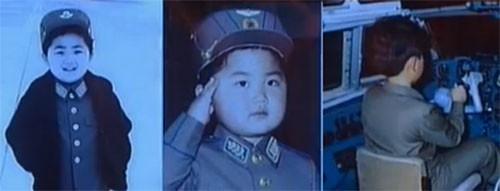 昨年4月に朝鮮中央テレビが放送したモランボン楽団のライブの時に流された、金正恩氏は子どもの時から飛行機を操縦していたという映像(画面:朝鮮中央テレビキャプチャー)