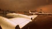 機内から見た雨の漁郎空港(画像:calflier001)