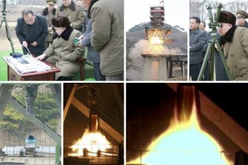 弾道ミサイルの大気圏再突入試験を現地指導する金正恩氏(2016年3月15日付労働新聞より)