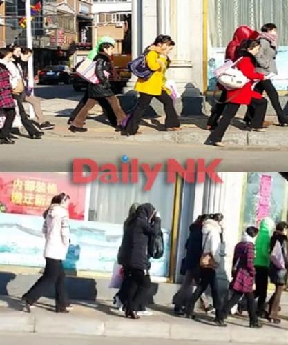 3月12日朝に撮影した、中国丹東の北朝鮮レストランレストランの従業員が集団で出勤する様子(画像:デイリーNKソル・ソンア記者)