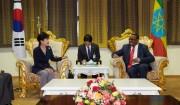 韓国の朴槿恵大統領と会談するエチオピアのデサレン首相(右/韓国大統領府提供)