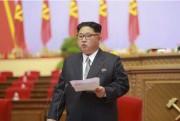 朝鮮労働党第7回大会で演説する金正恩氏(2016年5月7日付け労働新聞より)