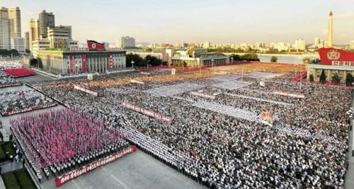 6・25米帝反対闘争の日平壌市民大会の様子(2016年6月26日付労働新聞より)