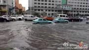台風10号による大雨で冠水した延吉市内(画像:微博)