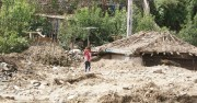 水害で破壊された茂山郡の村(画像:UNICEF)