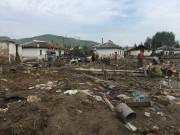 水害被災地の咸鏡北道会寧市郊外の住宅地(画像:UNICEF)