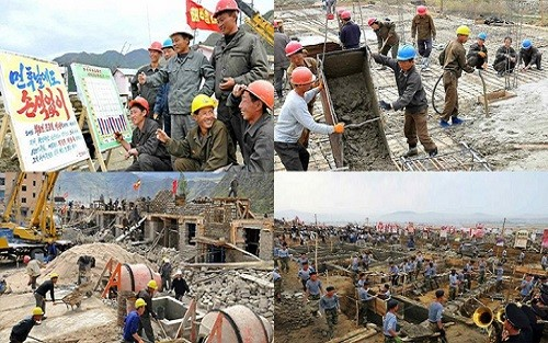 9月30日に労働新聞が掲載した咸鏡北道慶源郡後石里の住宅建設現場(画像:労働新聞)