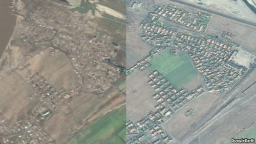 廃墟と化した会寧(フェリョン)市(左)。右は昨年10月の画像(画像:Google Earth)