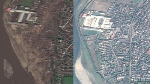 咸鏡北道茂山の水害前(右)と後(左)の衛星写真。川沿いの住宅地が跡形もなく消え去っている様子がわかる(画像:Google Earth)