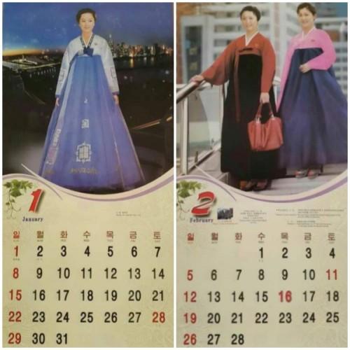 北朝鮮の2017年のカレンダー。金正恩氏の生誕記念日1月8日には特別な表記はない。(画像:自由北韓放送)