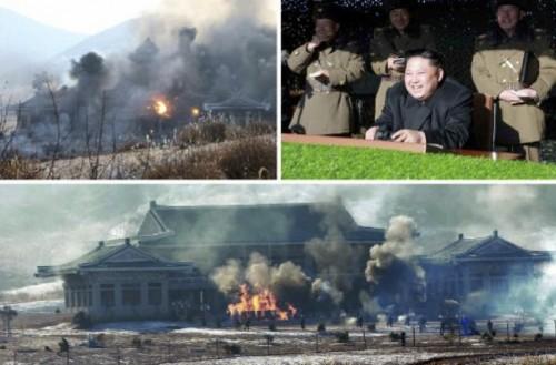 青瓦台らしき建物を襲撃する特殊部隊の作戦を指導した金正恩氏