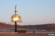 北朝鮮が12日に発射した中距離弾道ミサイル「北極星2号」(朝鮮中央通信)