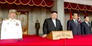 軍事パレードに出席した金正恩氏(朝鮮中央テレビキャプチャー)