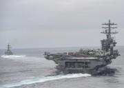 米軍の原子力空母「ニミッツ」(米海軍提供)