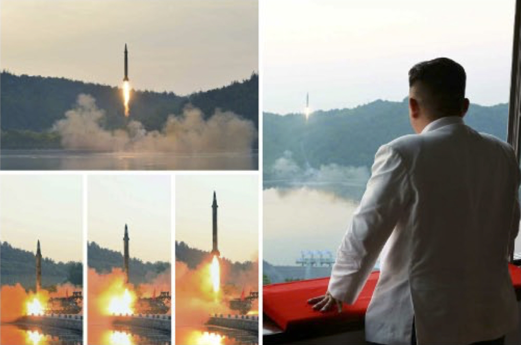 弾道ミサイルの試射を指導した金正恩氏(2017年5月30日付労働新聞より)