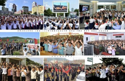 「火星14」型の発射成功の報道に喜ぶ北朝鮮国民(2017年7月5日付労働新聞より)