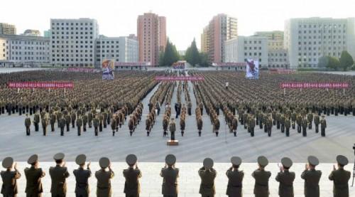北朝鮮政府の声明を支持する人民保安省軍務者集会(2017年8月11日付労働新聞より)