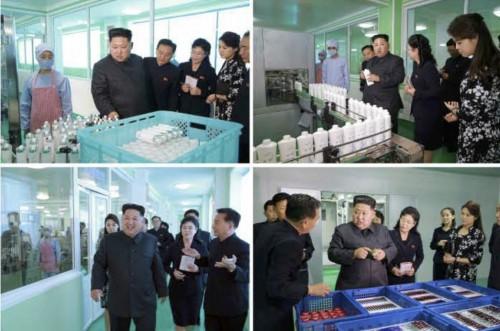 平壌化粧品工場を現地指導した金正恩氏(2017年10月29日付労働新聞より)
