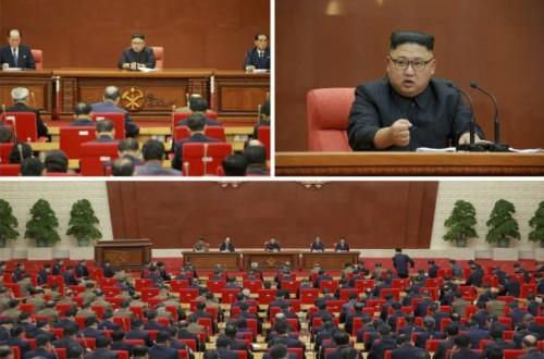 7日に行われた朝鮮労働党中央委員会第7期第2回総会(2017年10月8日付労働新聞より)