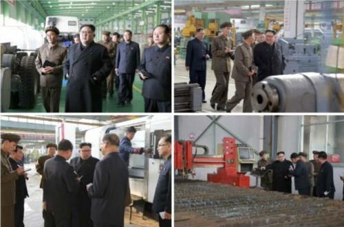 3月16日工場を現地指導した金正恩氏(2017年11月4日付労働新聞より)