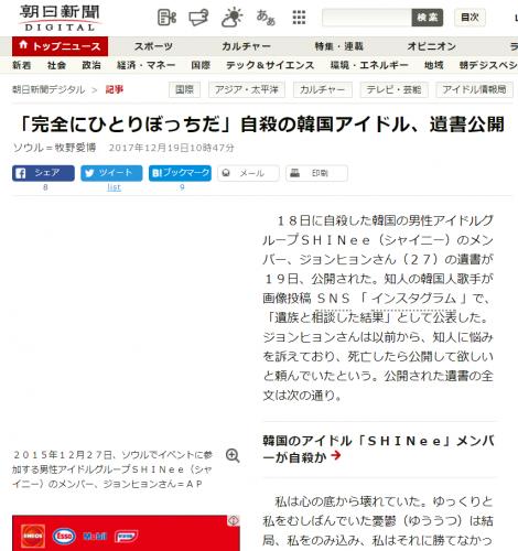 朝日新聞は2017年12月19日10時47分にジョンヒョンさんの遺書全文を公開した
