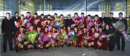 サッカー女子の東アジアE-1選手権で優勝した北朝鮮女子代表(2017年12月20日付労働新聞より)