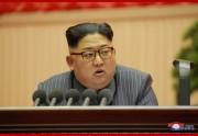 朝鮮労働党第5回細胞委員長大会で演説する金正恩氏(2017年12月24日付朝鮮中央通信より)