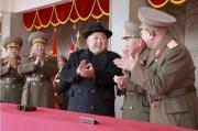 北朝鮮軍創建70周年記念軍事パレードに参加した金正恩氏(2018年2月9日付労働新聞より)
