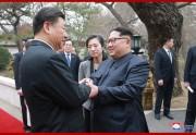 中国を非公式訪問した金正恩氏と習近平氏(朝鮮中央通信)