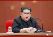 朝鮮労働党中央委員会第7期第3回総会で発言する金正恩氏。