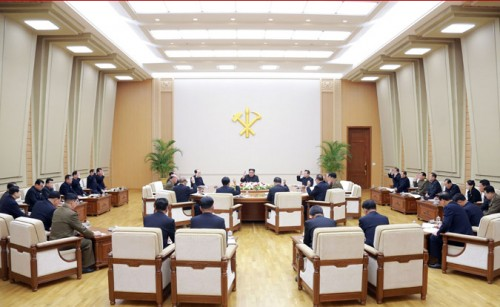 朝鮮労働党中央委員会政治局会議(2018年4月10日付朝鮮中央通信より)