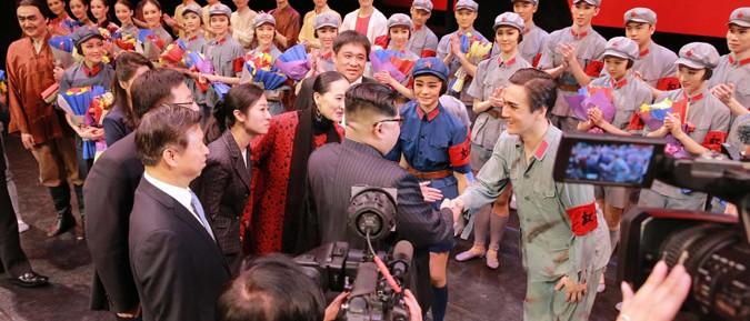 中国芸術団のバレエ舞踊劇「赤い女性中隊」(2018年4月17日付朝鮮中央通信より)