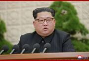 2018年4月20日に行われた朝鮮労働党第7期第3回総会で演説する金正恩氏(朝鮮中央通信)