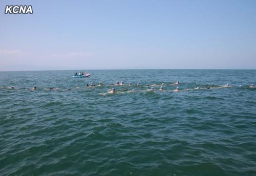 水泳能力判定訓練で遠泳を行う海軍指揮官たち(2014年7月2日付朝鮮中央通信)
