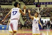 4日、平壌で行われた南北統一バスケットボール大会(韓国写真合同取材団)