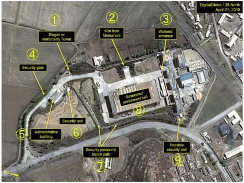 4月撮影の衛星写真。(1)塔(2)銅像(3)労働者用の入り口(4)警備用の門(5)管理施設(6)警備施設(7)警備要員用の通路(8)ウラン濃縮施設と指摘される建物(9)警備用とみられる施設(デジタルグローブ/38ノース提供・ゲッティ=共同)